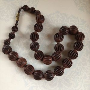Vintage celluloid carved bead necklace